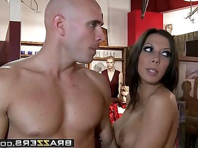 Pornstars Like it Big Hot Porn Star Fucks At A Sex Shop scene starring Rachel Starr a