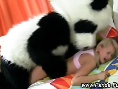 Plush panda and teen fake facial