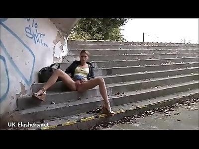 Blonde flashing Binas public nudity and teen exhibitionist babes voyeur masturba