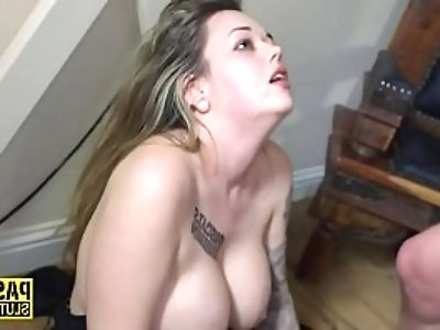 Chubby sub with big boobs gets pounded