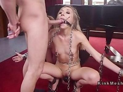 Blonde anal banged in threesome bdsm