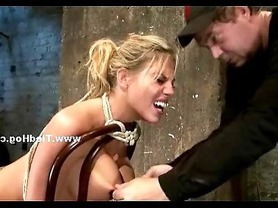 Blonde crack whore immobilized in kinky sex