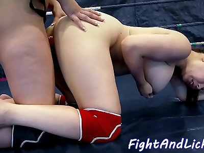 Busty asian fucked by strapon after wrestling