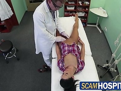 Beautiful Adela gets her pink pussy licked and then pounded by her doctor