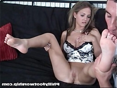 Blonde Naked Foot Worship Session
