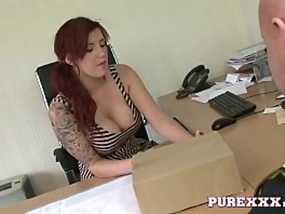 Redhead Office Manager blows the Courier
