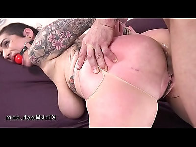 Monster tits gagged slave anal fucked