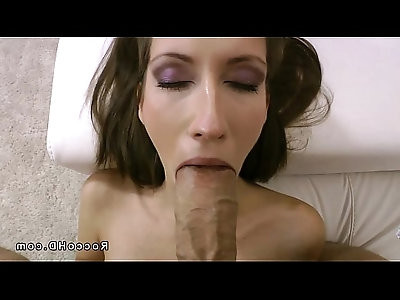 Skinny brunette sucks a huge dick of Rocco Siffredi POV