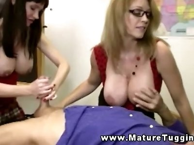 Mature handjob with busty milfs