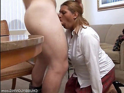 Pretty plump secretary sucks the boss