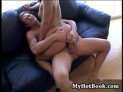 Julie Night gets her boobs squeezed while sitting