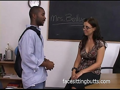 Busting a nut all over the teachers face