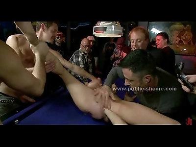Nasty slut immobilized in violent fuck