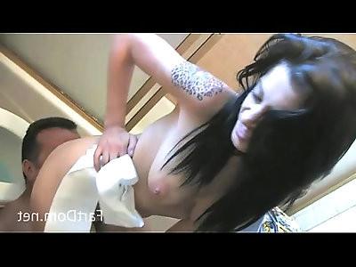 Vanessa Naughty Femdom Farting Into Human Toilet