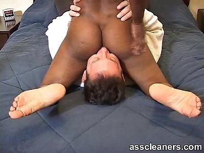 Cock hardens as man fucks ebonys ass with tongue