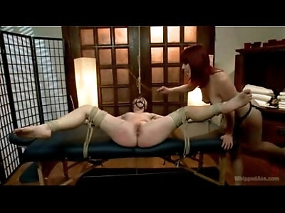 blonde babe is rope bound and straponed by lezdom Maitresse