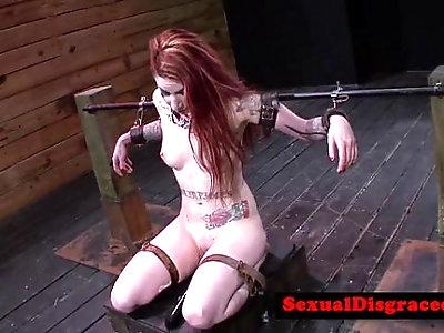 Ginger tattood bdsm sub gagging on cockreed