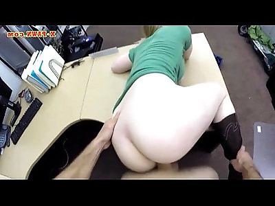 Nasty blonde babe pounded for a pearl necklace