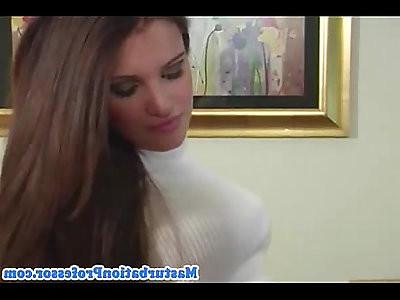 Hot busty lady sensual striptease