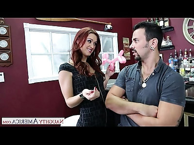 Superb redhead Karlie Montana sucking cock