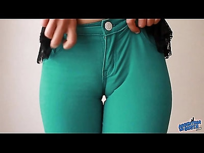 Sweet Cameltoe In Tight Green Denim Jeans! Ass Perfection!