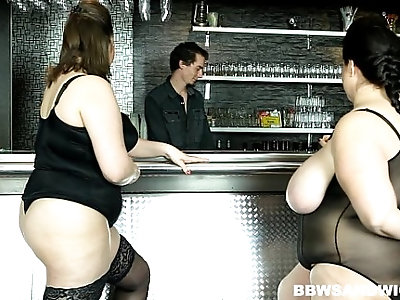 Strapon male domination performed by BBW dominas