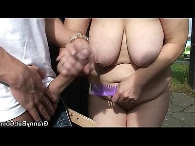 Blonde granny ride cock on public