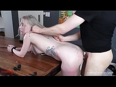 Beautiful bubble butt blond gets brutally painal fucked hard with ass to mouth over the dining table violet october