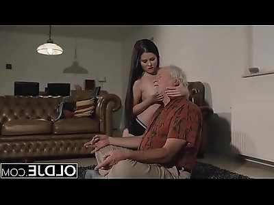 Teen Interrupts Grandpa from Yoga And Sucks Cock wet and hard