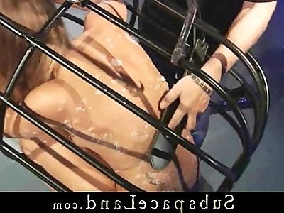 Rude school girl bondage rules with cruel whips and fuck machines