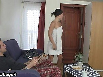 He bangs his cheap slut party real hard
